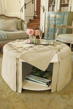 Ottoman Use round ottoman, upholstery ottoman, teal color, vintage fabric
