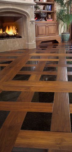 Inlay black tile and wood floors