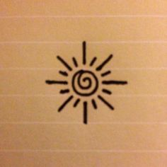 This is a small, simple design of a sun - perhaps for an inner wrist tattoo