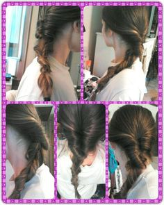 "I think I almost figured out what I'm calling the ""unbraid tutorial."" The gal goes through some steps, never actually braiding her hair, and it comes out looking like a fishtail. Mine didn't, but I'm happy with the outcome. You basically pull your hair through an opening like you're gonna do an inside out ponytail but you just keep moving down your hair. I crossed stands in order to not get a big gap in the middle. Cute messy outcome, but you'll have strands that pull on your scalp on weird…"
