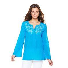 """Shop Antthony """"Havana"""" Cotton Gauze Embellished Top at HSN mobile"""
