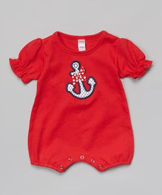 Look at this Petunia Petals Red Anchor Romper - Infant on #zulily today!