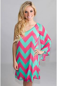 Melon Drop One-Shoulder Chevron Dress...I want this dress after I give birth to Miss Sofia Elizabeth!