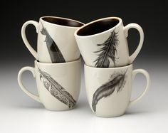 Set of 4 Laura Zindel Mugs: Feathers! Morning coffee never looked so good.