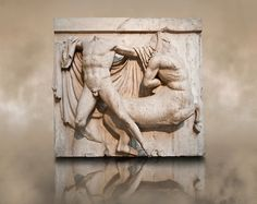 Sculpture of Lapiths and Centaurs battling from the Metope of the Parthenon on… Ancient Greek Art, Ancient Greece, Ancient History, Roman Sculpture, Sculpture Art, Parthenon Athens, Elgin Marbles, Greek And Roman Mythology, Greek Culture