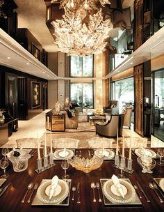 Dining and living room - mirror ceiling - Lalique crystals | via Krieit Associates | Bespoke Interiors