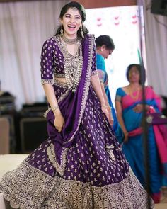 Purple Embroidered Bridal Lehenga Embroidered purple bridal lehenga with work all over perfect for your wedding day. The post Purple Embroidered… Party Wear Indian Dresses, Indian Gowns Dresses, Indian Bridal Outfits, Dress Indian Style, Indian Designer Outfits, Shadi Dresses, Indian Wear, Lehenga Saree Design, Half Saree Lehenga