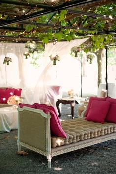 Gauzy Pink Lounge with Vintage Furniture, Event Planning: www.amynichols.com, Flowers: www.nancyliuchin.com, Vintage Rentals: www.onetruelovevintage.com, Photo: www.gertrudeandmabel.com