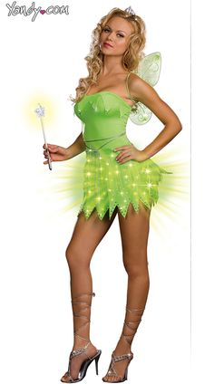 Bright Sprite Costume Light Up Adult Tinkerbell Halloween Costume. Wish the dress was a  sc 1 st  Pinterest & 10 best Halloween images on Pinterest | Adult costumes Costumes and ...