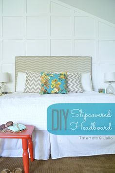 LOVE this idea from @Tatertots and Jello .com - she created not one, but three changeable slipcovers for her headboard! @HGTV HOME #hgtvhomemagic @Jo-Ann Fabric and Craft Stores