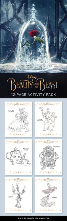 Free Printable Beauty and the Beast coloring pages and other fun activities including a full-color door hanger. These are the official Disney printables via @PagingSupermom