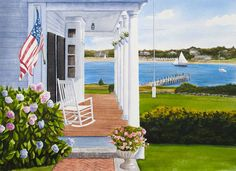 WHITE CHAIR - Edgartown, Martha's Vineyard. Signed limited edition (50) giclée print of a watercolor painting • Size: 20 X 14 inches $175 #MarthasVineyard #watercolor #painting #Edgartown