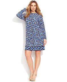 MICHAEL Michael Kors Plus Size Long-Sleeve Printed Dress - Plus Size Dresses - Plus Sizes - Macy's