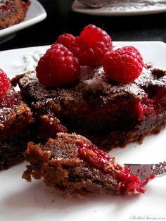 Ciasto Czekoladowe z Malinami (Brownies z Malinami) - Przepis - Słodka Strona Nigella, Meatloaf, Brownies, Cake Brownies