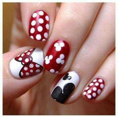 MinieMouse - would be fun nails for a trip to Disney