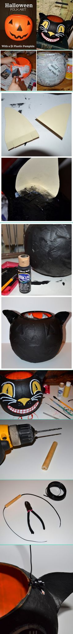 "Black Cat pail-Remove plastic handle, apply bits of newspaper & Mod Podge or paper mache paste to exterior of pumpkin. Paint brush works better than foam brush. Let dry. Cut ear from heavy card stock, fringe ends,  glue to pumpkin behind handle holes, paper mache over ears. Dry. Paint pumpkin black.  Dry. Paint face.  Paint inside vintage orange to disguise plastic. Drill hole thru 3.5"" dowel, fish wire thru, attach to pumpkin."