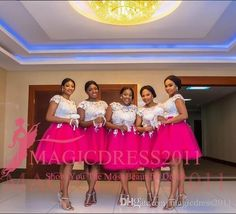 BellaNaija Bridesmaid Dresses A-Line White Lace with Hot Pink Tulle 2016 Nigeria…