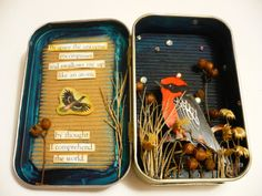 Sunddenly I want to alter Altoid Tins . , From: Oops, I Craft My Pants: Bird/Space Altoids Tin Shrine Altered Tins, Altered Images, Kids Crafts, Arts And Crafts, Classe D'art, Paper Art, Paper Crafts, Mint Tins, Craft Ideas