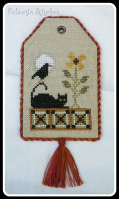 Looking Like Fall Floss Tag Finished Cross by ThePrimitiveStitcher