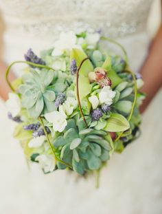 The bouquets will be comprised of green hydrangeas, green cymbidium orchids, blue thistles, seeded eucalyptus, and looped curly willow wrapped in green ribbon with the stems showing.