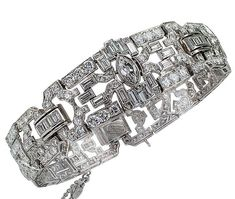 10.75 Carat Diamond Art Deco Platinum Bracelet