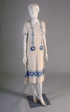 White linen dress with blue embroidery, possibly Italian, 1920s, KSUM 1995.17.152.