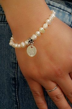 Bridal Gift Pearl Bracelet with Silver Initial by DaniJessBoutique