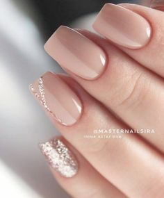 Nude Short Glitter Accent Fingernail Matte Shiny Acrylic Coffin Long Nail Ideas Manicure - French tip - Square shaped long nails - cute summer fall spring fingernails - gel nails - shellac - Accent Nails, Spring Nail Colors, Spring Nails, Nagellack Trends, Neutral Nails, Super Nails, Nagel Gel, Perfect Nails, Long Nails