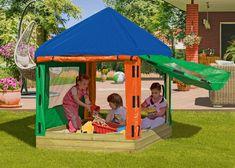 Gardenplaza: Spielpavillon - Ein Allwetter Sand- und Spielpavillon begeistert ganzjährig (Foto: epr/Delta Gartenholz)