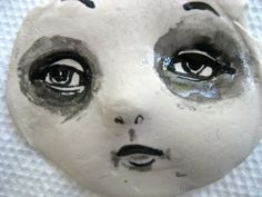 Goth girl Handmade clay face jewelry craft supplies  by pinksupply, $7.00