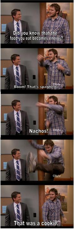 Andy trying to figure out how food turns into energy. #parksandrec