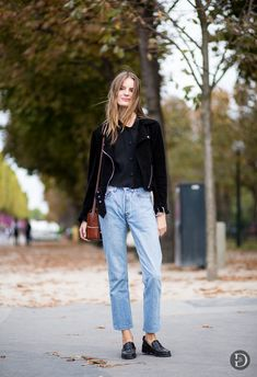 Tilda in a suede moto jacket & vintage jeans #style #fashion #model #streetstyle