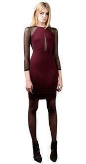 Sheer Sleeve Keyhole Dress in Wine