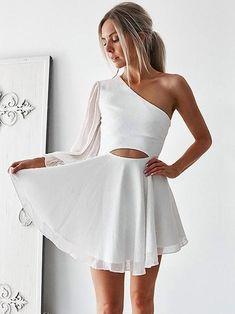 2e33bf65b59 A-Line Chiffon One-Shoulder Long Sleeves With Ruffles Short Mini Dresses