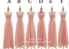 Jennifer, here is a great idea.. long bridesmaid dress look the same but different and chiffon that comes in the right color. Click on the link you can see the different colors! RE178