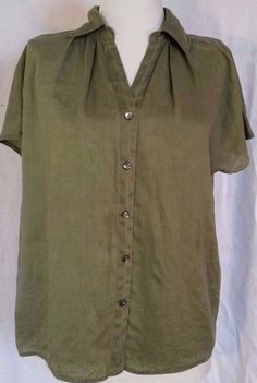 J Jill Linen Top Army green  Button down shirt Cap Sleeve Womens XS extrasmall #JJill #ButtonDownShirt #Career