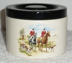 1970s/80s vintage collectable fox hunting trinket bowl storage canister