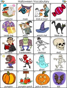 Visual Dictionary: Vocabulary with Pictures Archives - Page 2 of 15 - ESLBuzz Learning English Halloween Vocabulary, Halloween Worksheets, Vocabulary Worksheets, Grammar And Vocabulary, English Vocabulary, English Lessons, Learn English, Animals Name In English, Halloween Words