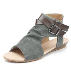 e67e4b1baa Canvas Buckle Decoration Peep Toe Flat Zipper Sandals Sandali Da Donna,  Scarpe Con Zeppa,