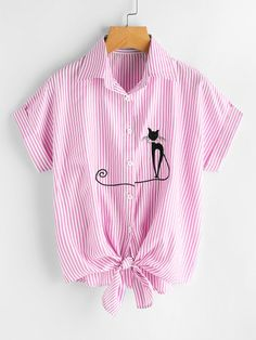 Cat Embroidered Cuffed Tie Hem Vertical Striped Shirt