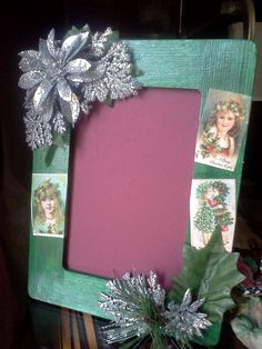 Frame a favorite photo (or children's artwork) with this salute to festive tradition - Winter Celebration tabletop frame by ChymeraArtisan on Etsy, $10.00