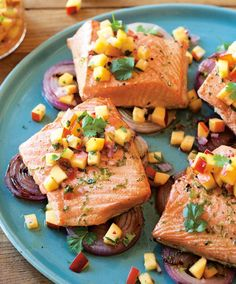 Grilled Salmon with Nectarine Salsa | Stone fruit are ideal in dishes both sweet and savory, like this unusual salmon with nectarine salsa.