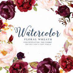 Watercolor floral wreath-Marsala/Individual PNG files/Hand