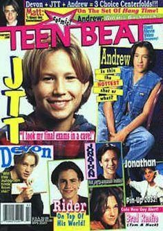 "On the cover of ""Teen Beat"" featuring fellow 90s heartthrobs Andrew Keegan, Devon Sawa, Rider Strong, Jonathan Jackson & Brad Renfro"