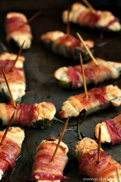 Jalapeno Bacon Poppers Recipe ~ Jalapeno Poppers wrapped in bacon with a little extra kick of adobo and smoked paprika. Jalapeno Bacon, Stuffed Jalapenos With Bacon, Stuffed Peppers, Jalapeno Poppers, Bacon Jam, Yummy Appetizers, Appetizers For Party, Appetizer Recipes, Bacon Recipes