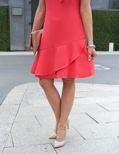 Spring Fashion | Coral Ruffle Hem Dress | Gold Bracelet Set | Houston Fashion Blogger Lady in Violet