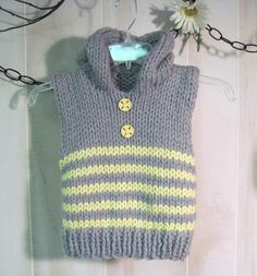 Knitting: Free Striped Toddler Vest Size 3