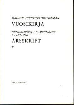Suomen Sukututkimusseuran Vuosikirja - Kirjaputiikin blogi