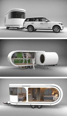 Camper Caravan, Camper Trailers, Tyni House, Vw Camping, Kombi Home, Deck Party, Teardrop Trailer, Futuristic Cars, House On Wheels