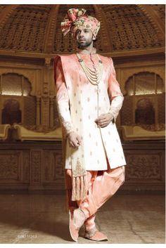 Cream,Peach Color Designer Sherwani, Indo western suits for mens Wedding Dresses Men Indian, Wedding Dress Men, Wedding Men, Wedding Suits, Bridal Dresses, Mens Sherwani, Wedding Sherwani, Teal Green Color, Peach Colors